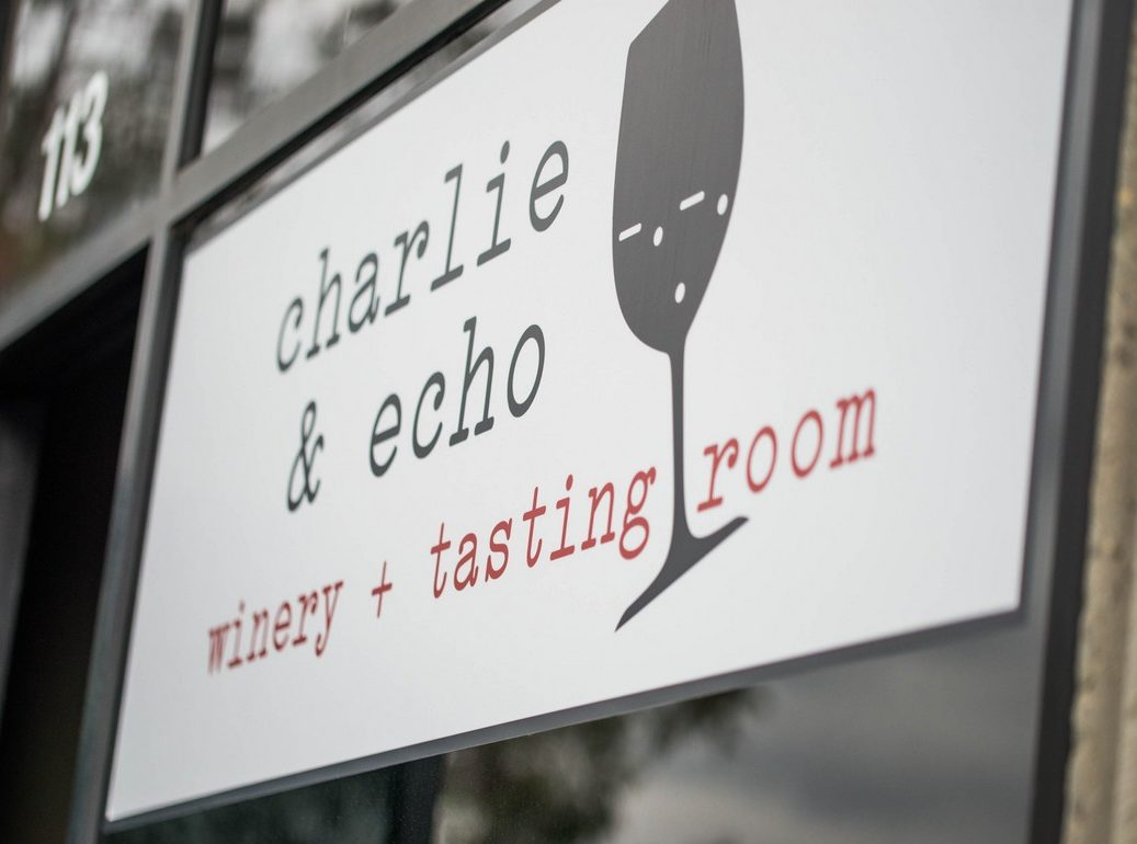 Charlie and Echo Sign in Window