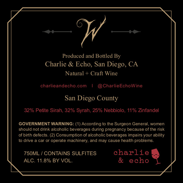 Witherfall Red Blend Back Label